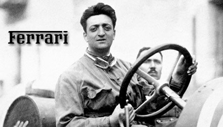 photo of young enzo ferrari driving with ferrari logo